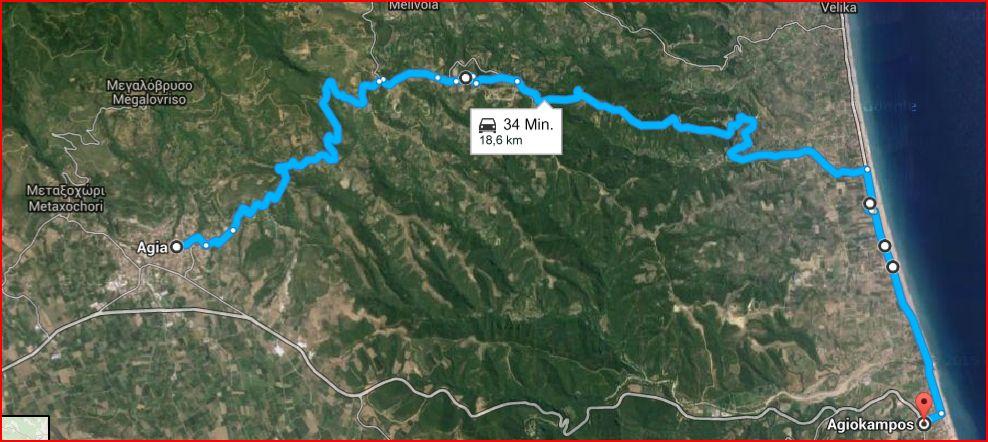 Unser kurzer Reiseweg. 34 Minuten, sagt5 Google. Erntet man zwischendurch Feigen, und besucht Mönche, dauert es länger.
