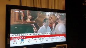 Tsipras gibt sich siegessicher. Untertitel: Nach Exit Poll: Klater Vorsprung für SYRIZA.r