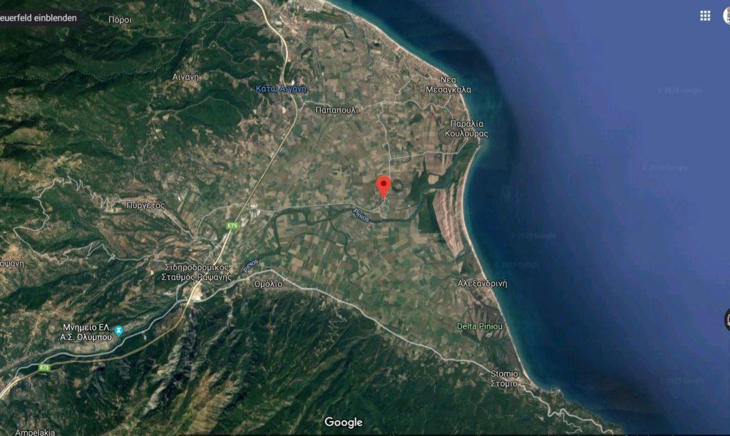 Übersicht über das Pinios-Delta (Google-Maps)