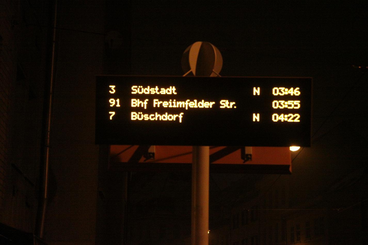 Straßenbahn Anzeige