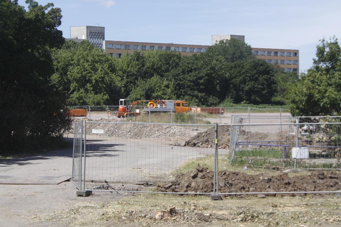 Begonnene Arbeiten am Neustädter Schutzwall