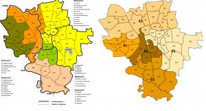 Links die alten, rechts die neue Wahlbereiche