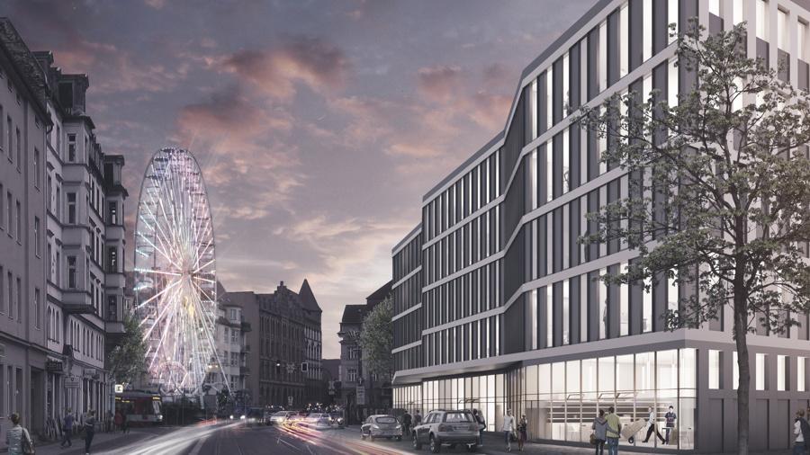 Eine stimmungsvolle Ansicht des geplanten Neubaus am Hallorenring.