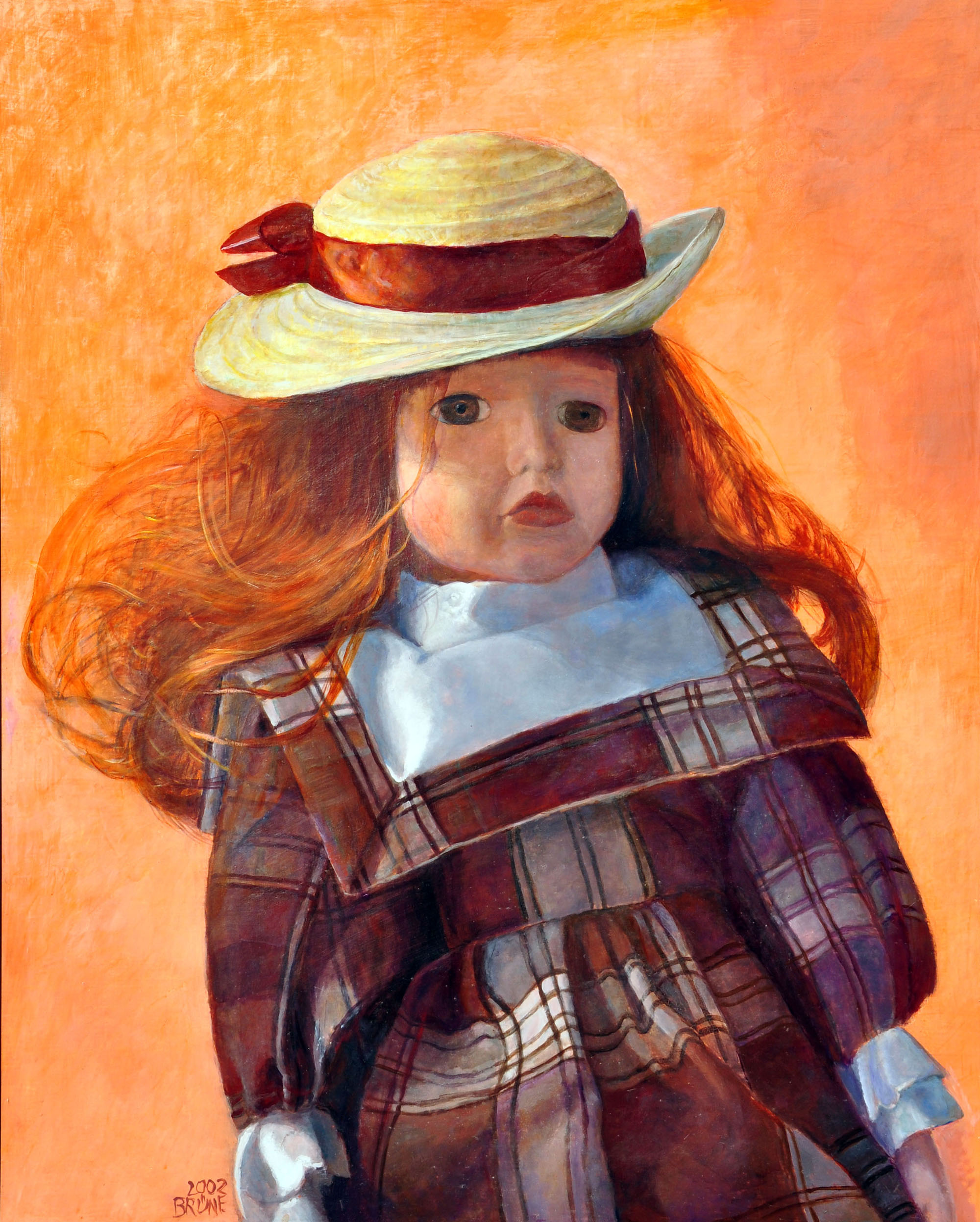 Gudrun Brüne_Puppe mit Hut_Mischtechnik auf Hartfaser_2003