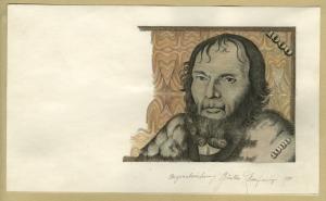 Günter Hopfinger: 1000-DM-Banknote, ca. 1973, Buntstift auf Papier, 199 x 118 mm, HVB-Stiftung Geldscheinsammlung, München, Foto: HVB-Stiftung Geldscheinsammlung, München