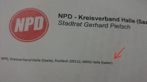 Briefkopf der NPD
