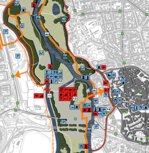 In rot: geplante Einrichtungen In blau: vorhandene Einrichtungen