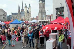 Maikundgebung 2015 auf dem Marktplatz Halle. Foto: DGB