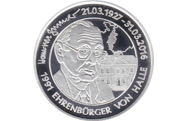Hans-Dietrich-Genscher- Erinnerungsmedaille. Foto: Numismatischer Verein Halle e. V.