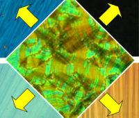 """Beispiel einer """"flüssigkristallinen Bananenphase"""" in ungeorneter Form (mitte) und nach eiheitlicher Orietierung (außen). Foto: Carsten Tschierske"""