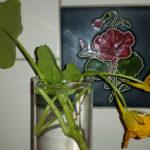 Unserer Pflanze war im Jugendstil auch als Ornamentmotiv beliebt: Im Hintergrund eine Fliese mit Kapuzinerkressemotiv (1. Jahrzehnt d. 20. Jh).