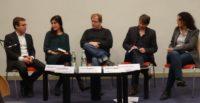 Die Diskussionsteilnehmer v. l. n. r. : Sebastian Striegel, Funda Özfirat, David Begrich, Andreas Speit u. Nuran Joerißen